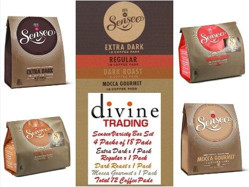Find Douwe Egberts Senseo Variety Pack, Extra Dark Roast, Dark Roast, Medium Roast & Mocca Gourmet 18 Pads (Divine Trading Variety Box Set of 4, Total 72 Pads) - Douwe Egberts Senseo