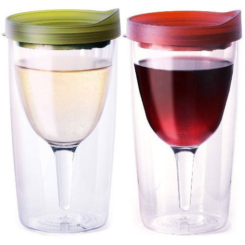 Vino2Go Double Wall Acrylic Tumbler with Merlot and Verde Lids, 10 oz, Pack of 2 (Wine Tervis compare prices)