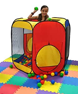 Six Sided Hexagon Twist Play Tent Generation II w/ Indoor Ball Stopper & Safety Meshing for Child Play Visibility