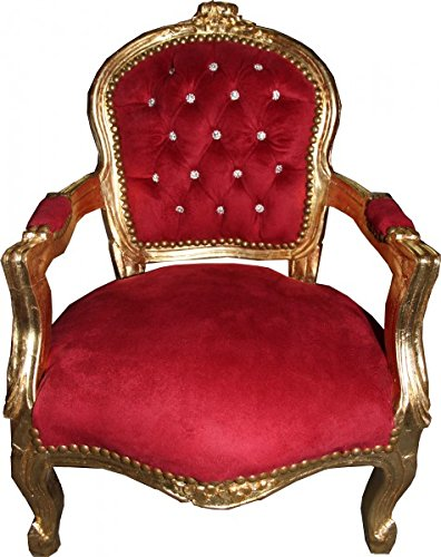 Casa Padrino Baroque Highchair Bordeaux Red / Gold with Bling Bling Rhinestones - Children's Furniture