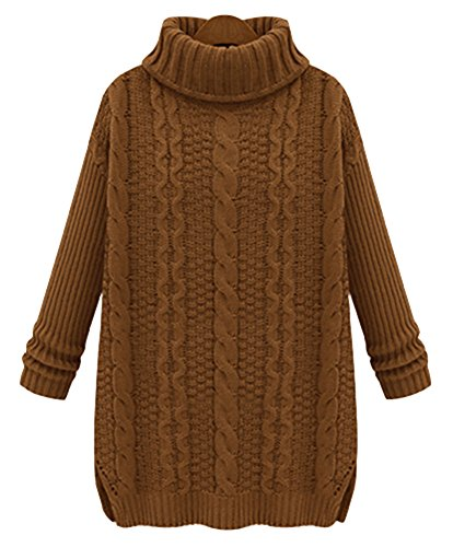 IDIFU Women's Split Turtleneck Long Sleeve Cable Knit Pullover Sweater Camel S