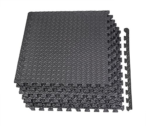GLOUE Puzzle Exercise Mat EVA Interlocking Floor Mat Set For 24 Square Anti-fatigue Exercise & Fitness Gym Soft Yoga Trade Show Play Room Basement Square Floor Tiles Borders Included(Black)