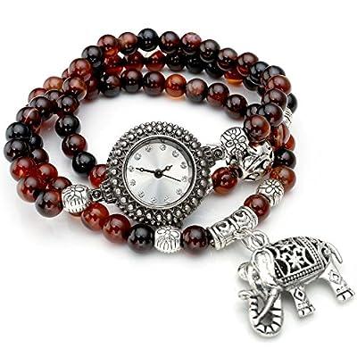 Yoption Womens Agate Bead Elephant Pendant Analog Quartz Wrap Bracelet Watch Coffee&Black