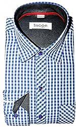 Tricon Men's Slim Fit Cotton Checkerd Shirt (SS110_Blue_Large)