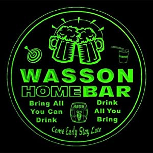 4x ccq47666-g WASSON Family Name Home Bar Pub Beer Club Gift 3D Engraved Coasters