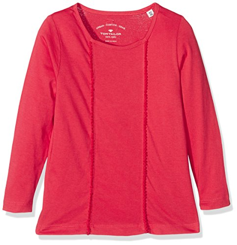 TOM TAILOR Kids fabric mix tshirt, T-shirt Bambina, Rosso (normal red), 110 (Taglia Produttore: 104/110)
