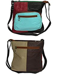 NAZ Women Multi-coloured Leather Sling Bag - B01IHRBW54