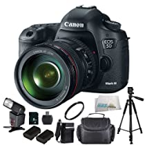 Canon EOS 5D Mark III Digital Camera Kit with Canon 24-105mm f/4L IS USM AF Lens With SSE 8GB Deluxe Package + 2 Replacement LP-E6 Batteries + Rapid Travel Charger + Much More