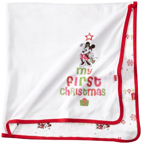 Disney Baby-Girls Newborn Minnie Mouse My First Christmas Reversible Blanket, White/Multi-Colored, One Size