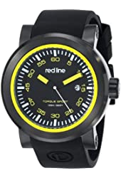 """red line Men's RL-50049-BB-01-YA """"Torque"""" Stainless Steel Watch with Black Silicone Band"""