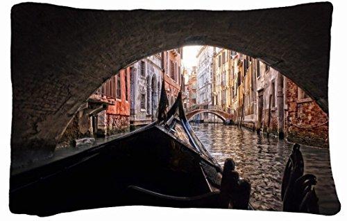 Microfiber Peach Queen Size Decorative Pillowcase -City Channel Bridge Arch Boat Gondola Venice Italy front-933218