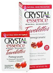 Crystal Essence Mineral Deodorant Towelettes Pomegranate - 24 Towelette, 2 Pack