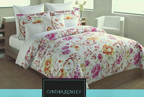 cynthia rowley 1 piece full queen quilt medallion floral on white