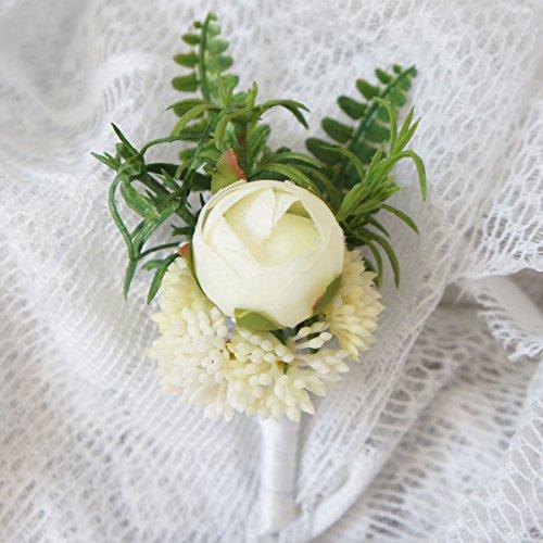 Lily Garden Hydrangea Berry Succulents Plant Ranunculus Wedding Bouquet (Fern Boutonniere)