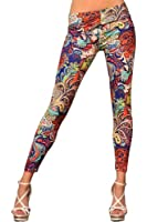 Amour Women's GYPSY PAISLEY & ROSES LEGGINGS