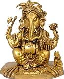 Exotic India Turbaned Ganesha - Brass Statue