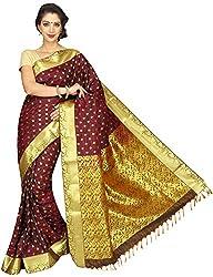 Evila Women's Raw Silk Saree (RSE-202, Brown)