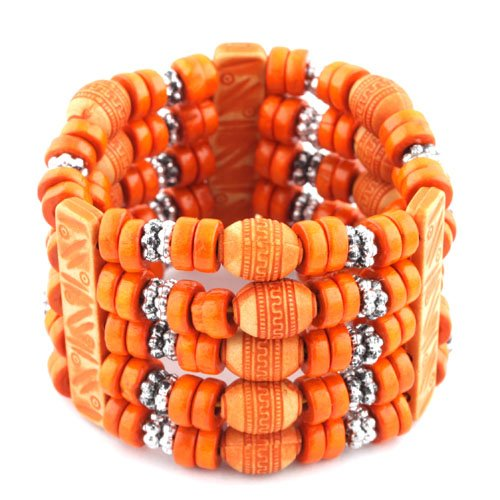 Ladies Orange 5 Row Spacers & Bars Style Wooden Beaded Stretch Bracelet