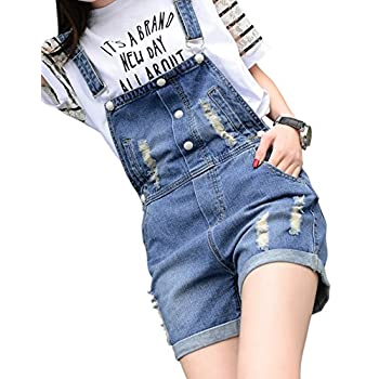 Chouyatou Women's Retro Destroyed Ripped Hole Button Front Denim Shortalls