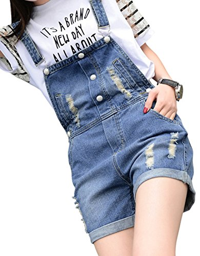 Chouyatou Women's Retro Destroyed Ripped Hole Button Front Denim Shortalls 0
