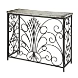 Antique White Metal and Wood Console Table