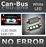 CANBUS 3 LED SMDS HYPER White 6418 Error Free License Plate Lights Bulbs