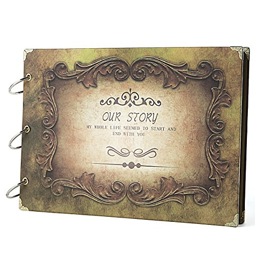SiCoHome Scrapbook Album 10.5x7.5inch Our Story Yellow with Scrapbooking Storage for Gifts,Photo Storage,Wedding Guest Book and Travel Record