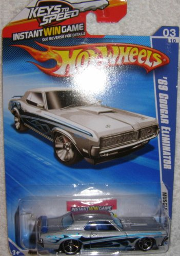 2010 HOT WHEELS MUSCLE MANIA KEYS TO SPEED CARD 03/10 SILVER '69 COUGAR ELIMINATOR