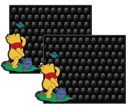 2 Utility Rubber Floor Mats - Winnie the Pooh Hunny and Butterfly (Pooh Car Mats compare prices)