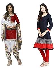 Sky Global Women's Regular Wear Dress Material And Kurti (Combo Pack Of 2)(SKY_DK_9016)(SKY_556_Red)(SKY_7026_...