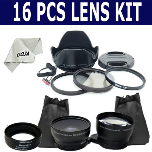 Essential Kit for CANON POWERSHOT SX20 IS, SX10 IS, SX1 IS, Includes: Adapter Tube (Made in light and sturdy aluminum) + 2.0X Telephoto and 0.45X Wide Angle High Definition Lens + Adapter Ring Kit + Filter Kit Set (UV and Polarizer) + Tulip Lens Hood + Lens Cap (center pinch snap-on) and Cap Keeper