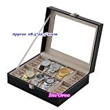 Mighty Gadget - 6 Slots Men Jewelry Black Watch & Ring Display Glass Top Storage Organizer Case Box Travel Gift (Random Color)
