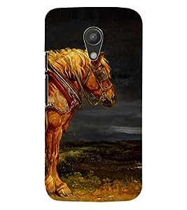 ColourCraft Amazing Horse Painting Design Back Case Cover for MOTOROLA MOTO G2