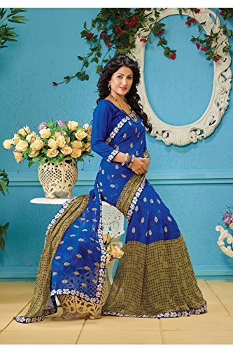 AG Lifestyle Blue & Green Faux Georgette Saree With Unstitched Blouse AKS2012