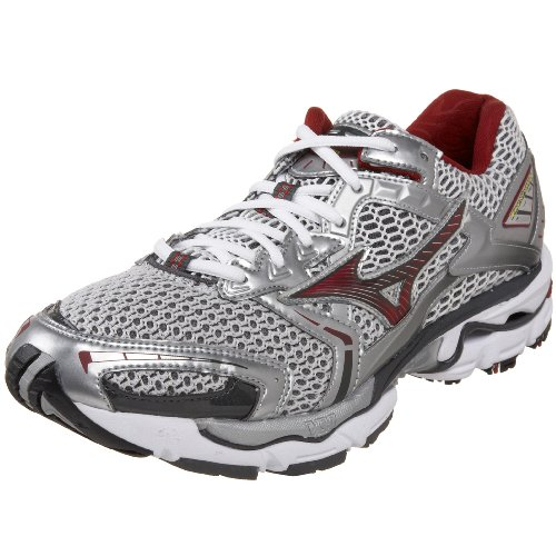 Mizuno Men's Wave Nirvana 6 Running Shoe,White/Biking Red/Yellow,11.5 D