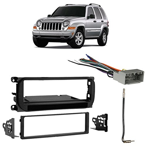 Fits-Jeep-Liberty-2002-2007-Single-DIN-Stereo-Harness-Radio-Install-Dash-Kit