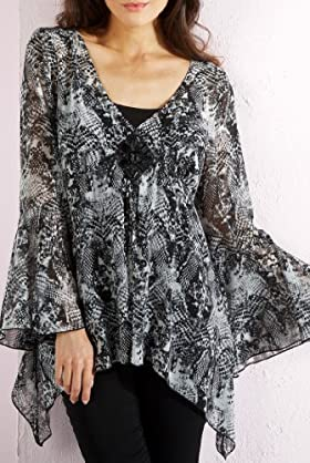 Per Una Jewel Embelished Snakeskin Print Kaftan Top with Camisole [T62-9791G-S]