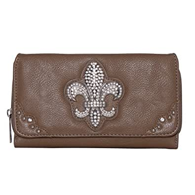 Patzino Fashion Collection, Faux Leather Women's Tri-Fold Wallet Beige