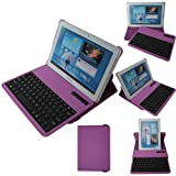 TECHGEAR® 360 Degree Rotating PU Leather Case Cover Stand with Detachable Bluetooth Wireless Keyboard for The Samsung Galaxy Tab 2 10.1 (10.1 inch) P5100 / P5110 / P5120 (PURPLE)
