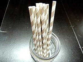 25 Gray amp White Striped Paper Party Straws