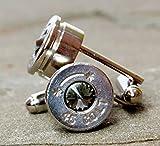 Bullet Casing Cufflinks Colt 45 Swarovski Elements Black Diamond Grey Designer Rivoli