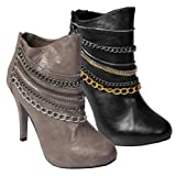 Anne Michelle by Journee Chain Trim High Heel Bootie