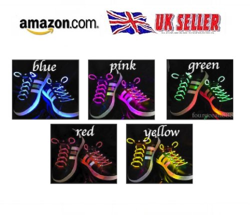 LED shoe laces / boots / trainers laces fibre optic flash light. Glow in the dark flashing shoe laces. PINK SHOE LACES