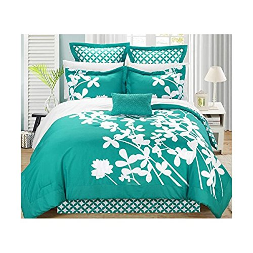 Chic Home Iris 7-Piece Comforter Set with Four Shams and Decorative Pillow, King Size, Turquoise ...
