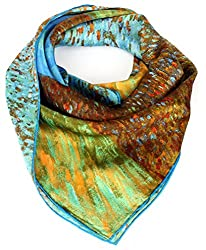 Olina Women's High-Grade Elegant 100% Luxury Square Silk Scarf (Van Gogh - Cornflowers and poppies)