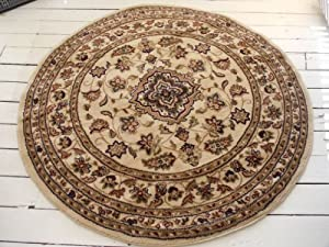 Persian design circle rug in Cream. 133cm UK MAINLAND DELIVERY ONLY