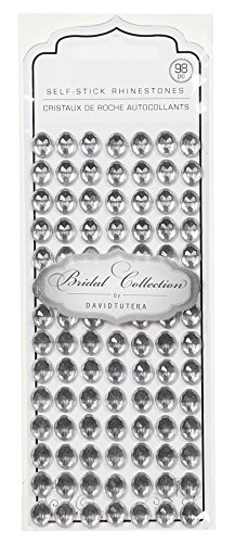 Darice DT2518 David Tutera 98-Piece Self Stick Oval Rhinestones, Silver/Clear