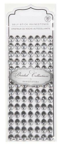 Darice DT2518 David Tutera 98-Piece Self Stick Oval Rhinestones, Silver/Clear