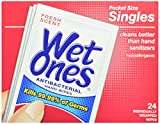 Wet Ones Antibacterial Hand Wipes Singles, 24-Count (Pack of 5)