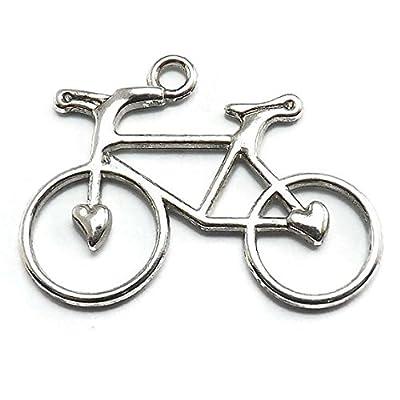 10 PCS Antique Silver Color Bicycle, Bike Pendants Pack